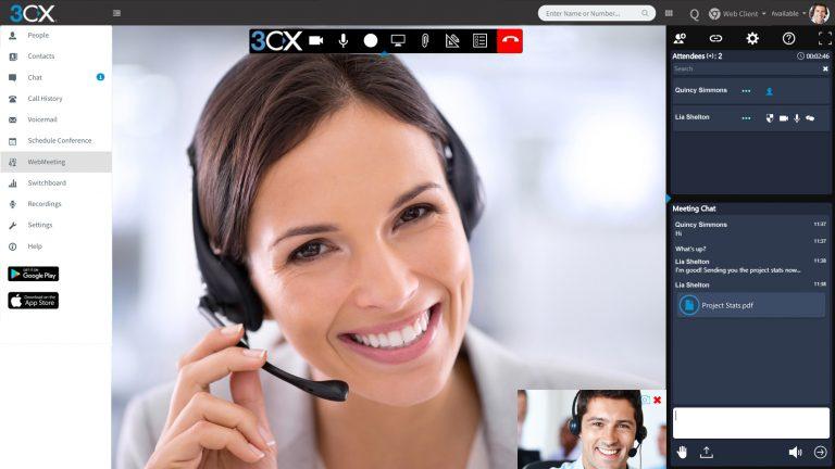 3CX Telefonanlage webmeeting 1+1 Bild Karussell